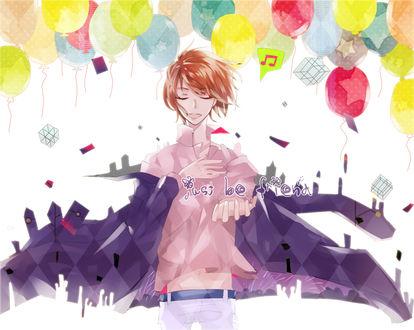 Обои Программа Vocaloid / Вокалоид протягивает одну свою руку, а другую приложив к сердцу и закрыв глаза, поет песню на фоне взлетающих в небо разноцветных гелевых шаров, . арт мангаки Kotoke (Just be friend)