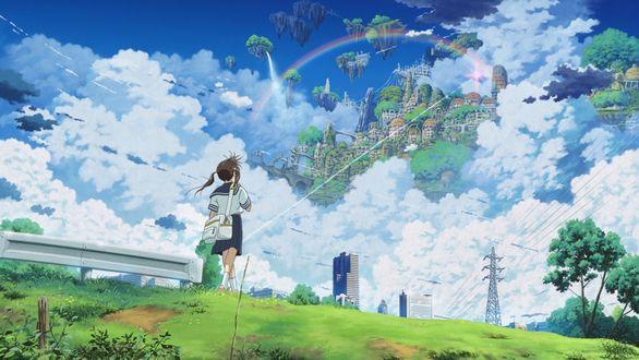 Обои Девушка в школьной форме с сумкой идущая на встречу фантастическому городу среди облаков