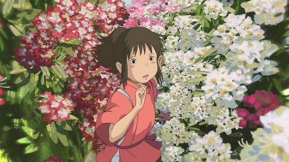 Обои Тихиро бегущая среди цветов из аниме Унесенные призраками / Spirited Away