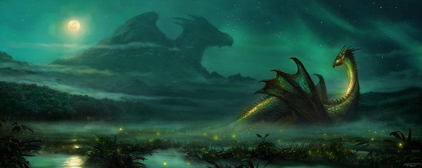 Обои Сказочный дракон лежит на поляне в свете полной луны