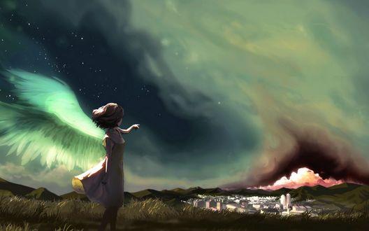 Обои Девушка-ангел показывает пальчиком в сторону города вдали на фоне ночного неба