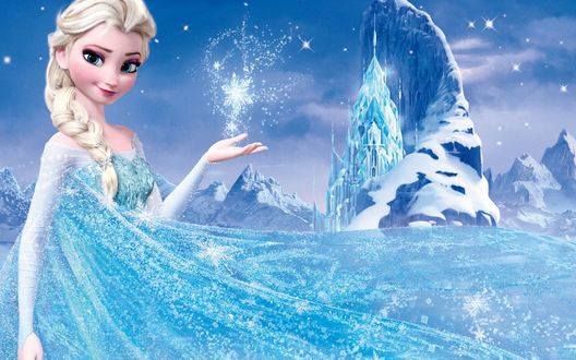 Обои Королева Эльза на фоне своего ледяного замка, из диснеевского мультфильма Холодное сердце / Frozen