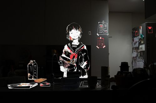 Обои Полупрозрачная анимешная девочка в школьной форме на кухне взбивает венчиком шоколадную массу в миске