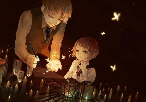 Обои Девочка смотрит как мальчик рисует бабочек, которые оживают