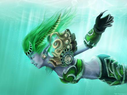 Обои Изера плывет под водой, арт к игре World Of Warcraft