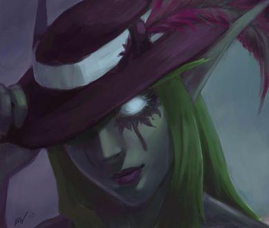 Обои Ночная эльфийка / Night elf в шляпе с пером, арт к игре World Of Warcraft