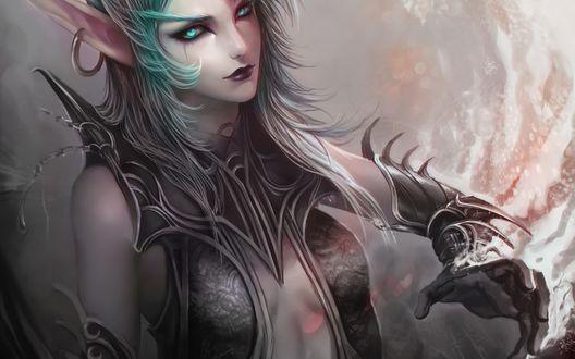 Обои Кровавая эльфийка / Blood elf с зелеными волосами, арт к игре World Of Warcraft