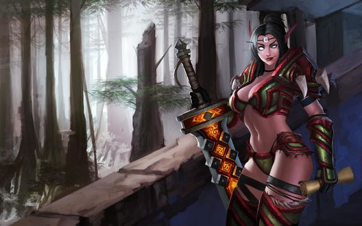Обои Кровавая эльфийка / Blood elf с мечом в одной руке и свитком в другой, арт к игре World Of Warcraft