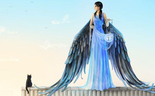 Обои Девушка-ангел с фонарем в руке стоит на крыше дома, рядом сидит кошка