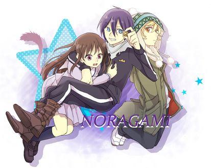 Обои Iki Hiyori / Ики Хиери, Yato / Ято и Yukine / Юкине из аниме Noragami / Норагами