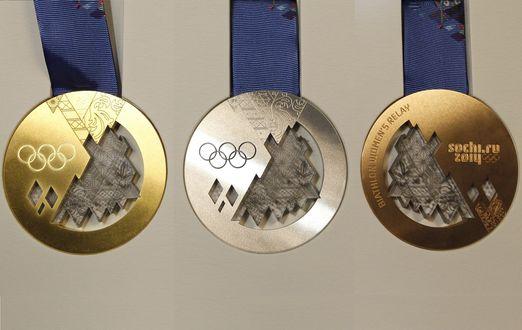 Обои Комплект медалей Сочи 2014