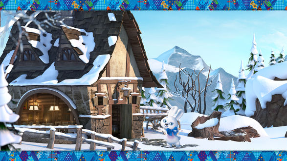 Обои Талисман зимних игр Зайка приглашает в горную олимпийскую деревню Сочи 2014