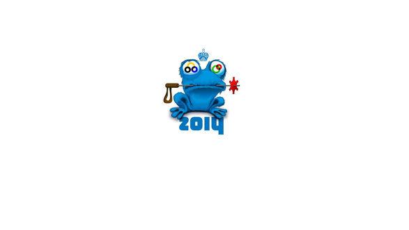 Обои Синяя волосатая лягушка (ZOICH / ЗОЙЧ) на белом фоне, с олимпийскими кругами в глазах, спортивным инвентарем во рту и и короной над головой (2014)