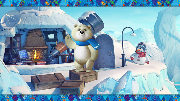 Обои Белый медвежонок в синем шарфе с надписью Сочи 2014 / Sochi 2014 стоит на деревянных ящиках на фоне своего ледяного дома