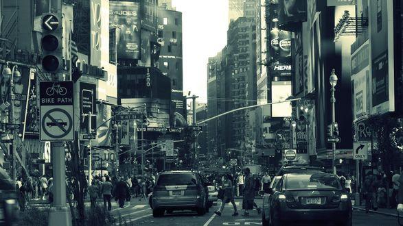 Обои Людная улочка Нью-Йорка / New York City