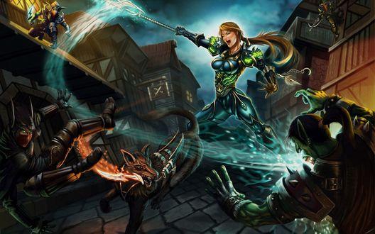 Обои Девушка-воин сражается с орками и гоблинами в ночном Штормграде, арт к игре World of Warcraft