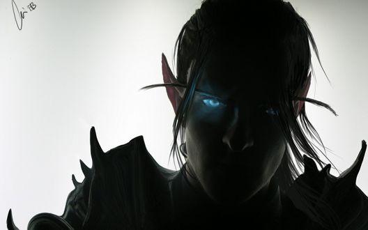 Обои Силуэт кровавого эльфа-рыцаря смерти, арт к игре World of Warcraft