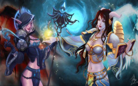 Обои Ночная эльфийка-жрица тьмы и дренейка-жрица света, арт к игре World of Warcraft