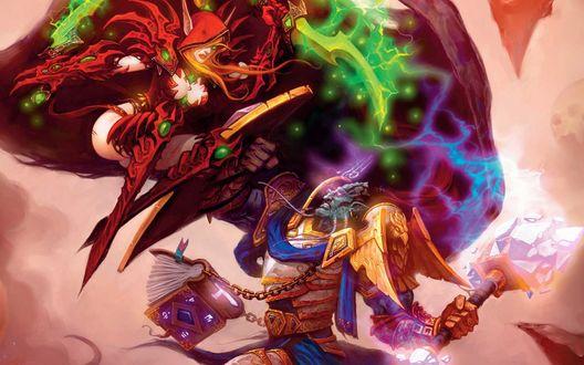 Обои Кровавая эльфийка-разбойница напала на дренея-паладина, арт к игре World of Warcraft