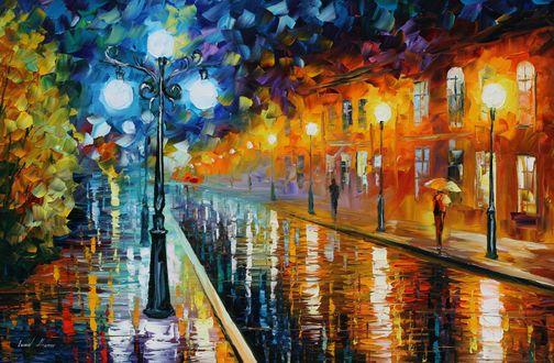 Обои Люди под зонтиками шагают по мокрой мостовой в окружении горящих фонарей, художник Leonid Afremov