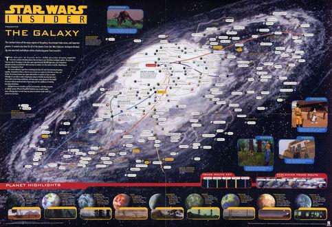 Обои Подробная карта галактики вселенной звездных войн