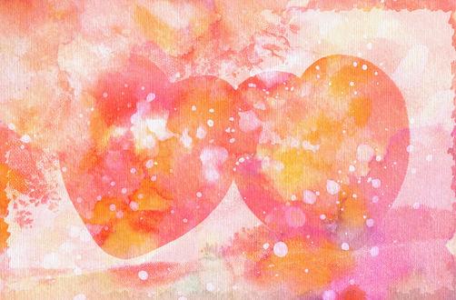 Обои Два розовых сердечка, нарисованных акварелью