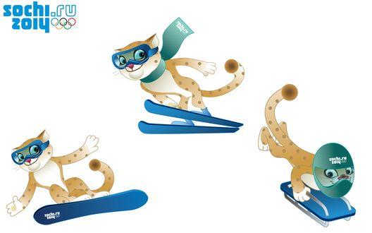 Обои Талисман Олимпиады в Сочи 2014 / Sochi 2014, Леопард на сноуборде, лыжах и санках