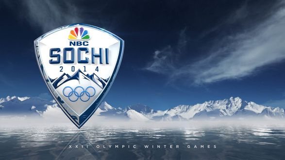 Обои Заставка канала NBC для Олимпийских игр в Сочи 2014 / Sochi 2014, на фоне моря у подножия гор (NBC XXII OLYMPIC WINTER GAMES)