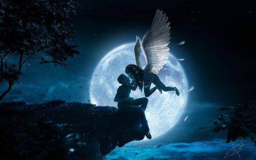 Обои Девушка - ангел тянется поцеловать мужчину, который сидит на краю земли на фоне полной луны
