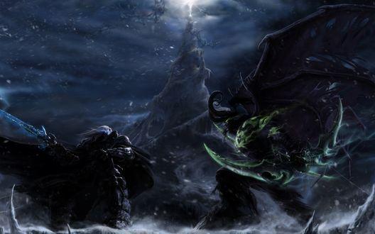 Обои Иллидан Ярость Бури сражается с Артасом, арт к игре World of Warcraft