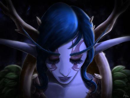 Обои Лицо грустной ночной эльфийки, арт к игре World Of Warcraft