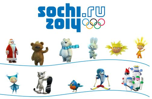 Обои Талисманы олимпиады Сочи 2014 / Sochi 2014 - Леопард, Белый Мишка и Зайка, рядом еще много забавных сувениров