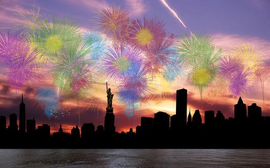 Обои Силуэт города Нью-Йорк, США на фоне неба с фейерверками
