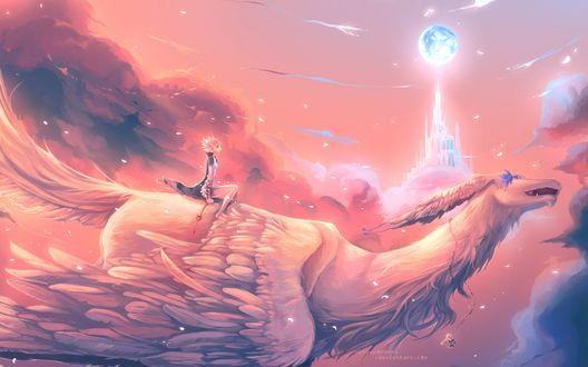 Обои Девушка летит на белом сказочном драконе на фоне розового неба и башней в облаках, автор Uchuubranko