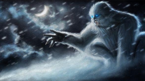 Обои Страшный монстр - снежный человек в ночи, тянет когтистую руку сквозь снежную пургу