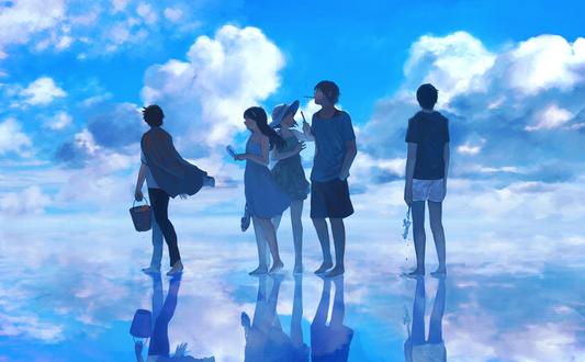 Обои Парни и девушки стоят на зеркальной поверхности на фоне облачного неба