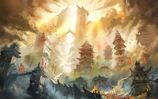 Обои Сказочный город в восточном стиле