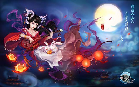 Обои Девушка в пышном кимоно играет на музыкальном инструменте на фоне луны