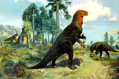 Обои Онитоподный динозавр рода lguanodon
