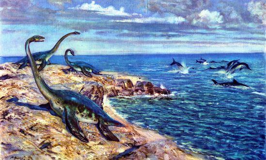 Обои Водоплавающие динозавры на берегу моря