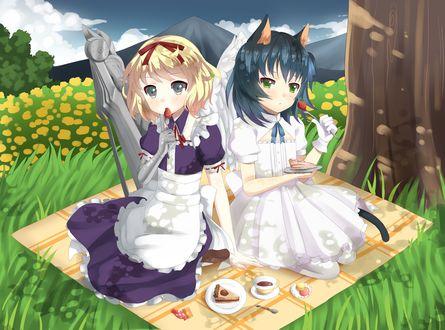 Обои Ryone Yami / Рионе Ями и девушка блондинка на пикнике поедают тортик, игра UTAU, арт мангаки Desubunny