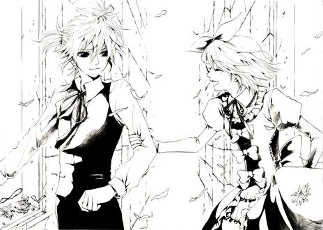 Обои Vocaloid Kagamine Len / Вокалоид Кагамине Лен и Vocaloid Kagamine Rin / Вокалоид Кагамине Рин, арт мангаки Hakuseki