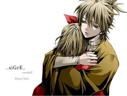 Обои Vocaloid Kagamine Len / Вокалоид Кагамине Лен и Vocaloid Kagamine Rin / Вокалоид Кагамине Рин обнимают друг друга, арт мангаки Hakuseki