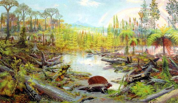 Обои Динозавр возле болота, на фоне двойной радуги