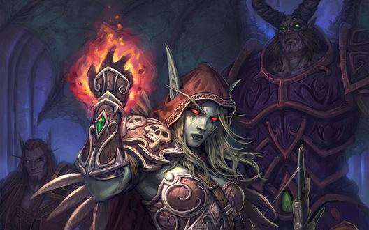 Обои Сильвана Ветрокрылая, арт к игре World Of Warcraft