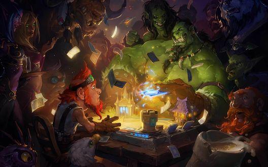 Обои Различные персонажи игры World Of Warcraft сидят за столиком и играют в Hearthstone
