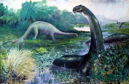 Обои Динозавры посреди тропической природы