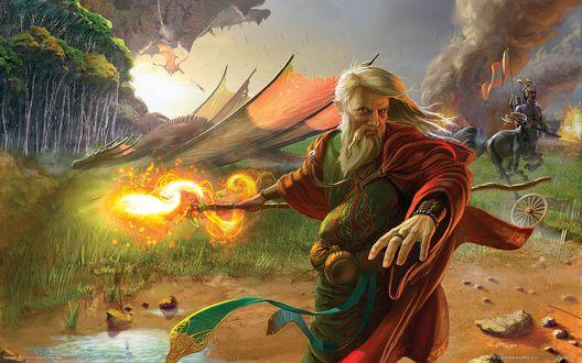 Обои Пожилой седовласый маг сражается со злым драконом, вдали виден дым от пожара