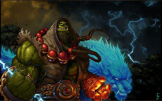 Обои Тралл / Thrall рядом с волком, арт к игре World Of Warcraft