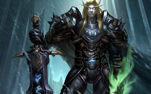 Обои Кровавый эльф -рыцарь смерти / Blood elf Death knight, арт к игре World Of Warcraft